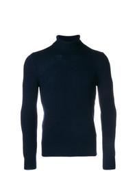 dunkelblauer Wollrollkragenpullover von La Fileria For D'aniello