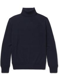 dunkelblauer Wollrollkragenpullover von Saint Laurent