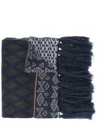 dunkelblauer Wollschal mit geometrischem Muster von Etro