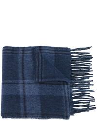 dunkelblauer Wollschal mit Karomuster von Polo Ralph Lauren