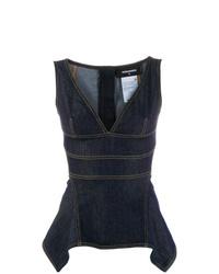 dunkelblaues ärmelloses Oberteil aus Jeans von Dsquared2