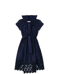 dunkelblaues ausgestelltes Kleid aus Spitze von Lanvin