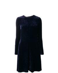 dunkelblaues ausgestelltes Kleid von Stella McCartney