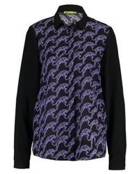 dunkelblaues bedrucktes Businesshemd von Versace