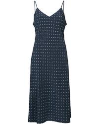 dunkelblaues bedrucktes Camisole-Kleid aus Seide von Vince
