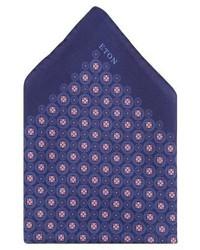 dunkelblaues bedrucktes Einstecktuch von Eton