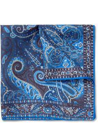 dunkelblaues bedrucktes Einstecktuch von Etro