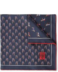 dunkelblaues bedrucktes Einstecktuch von Gucci