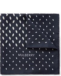 dunkelblaues bedrucktes Einstecktuch von Mulberry