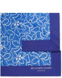 dunkelblaues bedrucktes Einstecktuch von Richard James
