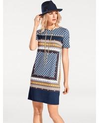 dunkelblaues bedrucktes gerade geschnittenes Kleid von B.C. BEST CONNECTIONS by Heine