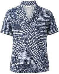 dunkelblaues bedrucktes Kurzarmhemd