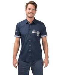 dunkelblaues bedrucktes Kurzarmhemd von Classic