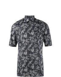 dunkelblaues bedrucktes Kurzarmhemd von Lanvin
