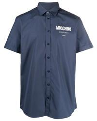 dunkelblaues bedrucktes Kurzarmhemd von Moschino