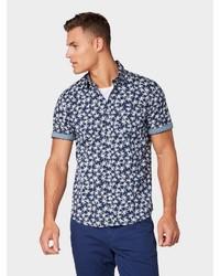 dunkelblaues bedrucktes Kurzarmhemd von Tom Tailor
