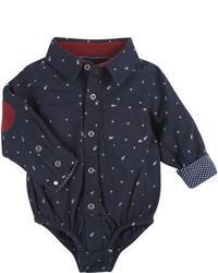 dunkelblaues bedrucktes Langarmhemd