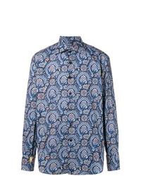 dunkelblaues bedrucktes Langarmhemd von Billionaire