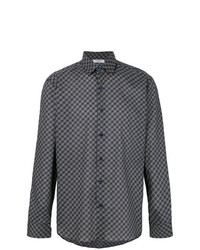 dunkelblaues bedrucktes Langarmhemd von Fashion Clinic Timeless