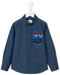 dunkelblaues bedrucktes Langarmhemd von Fendi