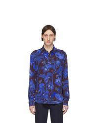dunkelblaues bedrucktes Langarmhemd von Paul Smith