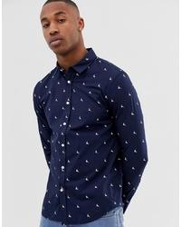 dunkelblaues bedrucktes Langarmhemd von Pier One