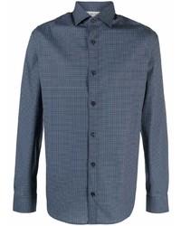 dunkelblaues bedrucktes Langarmhemd von Z Zegna