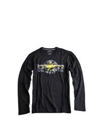 dunkelblaues bedrucktes Langarmshirt von Alpha Industries