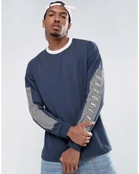 dunkelblaues bedrucktes Langarmshirt von Asos