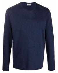 dunkelblaues bedrucktes Langarmshirt von Etro
