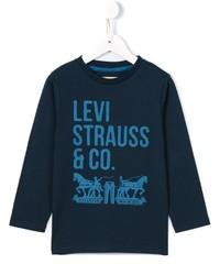 dunkelblaues bedrucktes Langarmshirt von Levi's