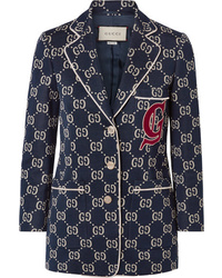 dunkelblaues bedrucktes Sakko von Gucci