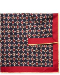dunkelblaues bedrucktes Seide Einstecktuch von Gucci