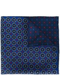 dunkelblaues bedrucktes Seide Einstecktuch von Kiton