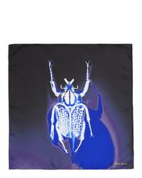 dunkelblaues bedrucktes Seide Einstecktuch von Paul Smith