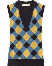 dunkelblaues bedrucktes Seide Trägershirt von Marni