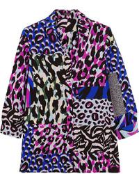 dunkelblaues bedrucktes Seidehemd von Versace