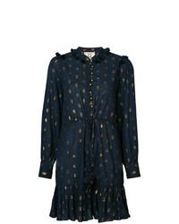dunkelblaues bedrucktes Shirtkleid von Figue