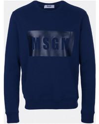 dunkelblaues bedrucktes Sweatshirt