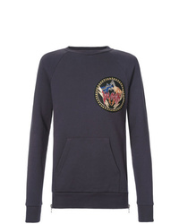 dunkelblaues bedrucktes Sweatshirt von Balmain