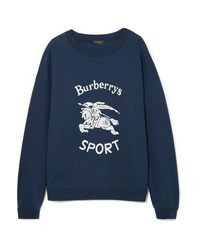 dunkelblaues bedrucktes Sweatshirt von Burberry