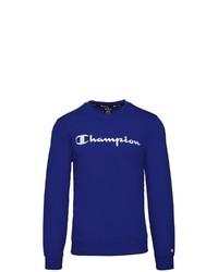 dunkelblaues bedrucktes Sweatshirt von Champion