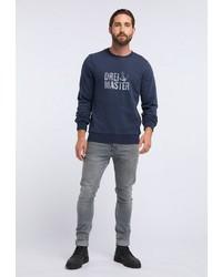 dunkelblaues bedrucktes Sweatshirt von Dreimaster