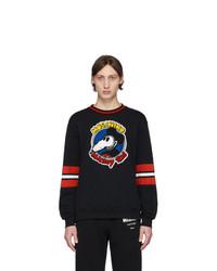 dunkelblaues bedrucktes Sweatshirt von Moschino