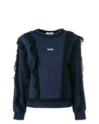 dunkelblaues bedrucktes Sweatshirt von MSGM