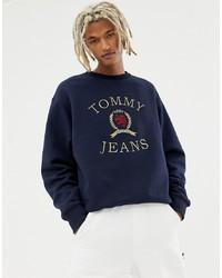 dunkelblaues bedrucktes Sweatshirt von Tommy Jeans