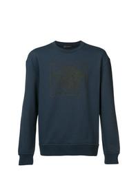 dunkelblaues bedrucktes Sweatshirt von Versace