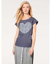 dunkelblaues bedrucktes T-Shirt mit einem Rundhalsausschnitt von B.C. BEST CONNECTIONS by Heine