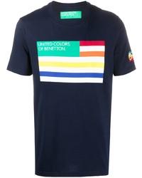 dunkelblaues bedrucktes T-Shirt mit einem Rundhalsausschnitt von Benetton