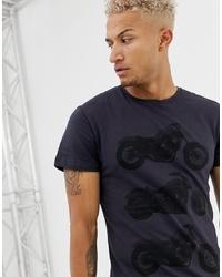 dunkelblaues bedrucktes T-Shirt mit einem Rundhalsausschnitt von BLEND